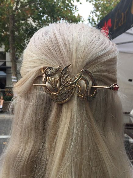 Dragon Hair Barrette Renaissance Hair Accessories Bronze