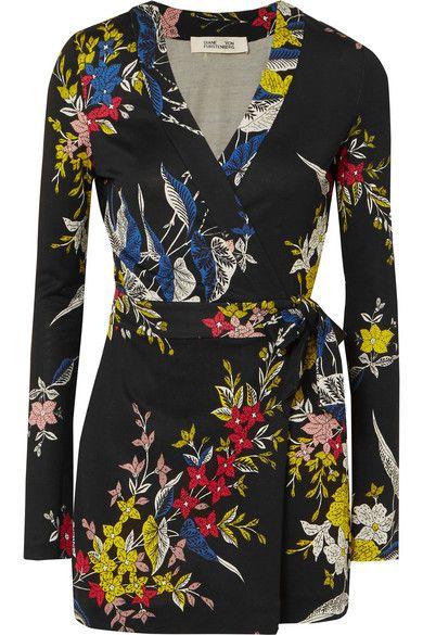 7648a2043738 Diane von Furstenberg - Celeste Printed Silk-jersey Wrap Playsuit - Black