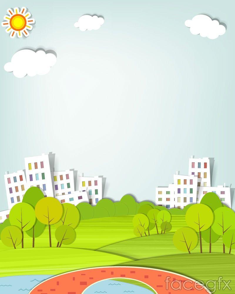 Fresh City Clipart Vector City Parks Landscape Landscape Clipart Image Paper