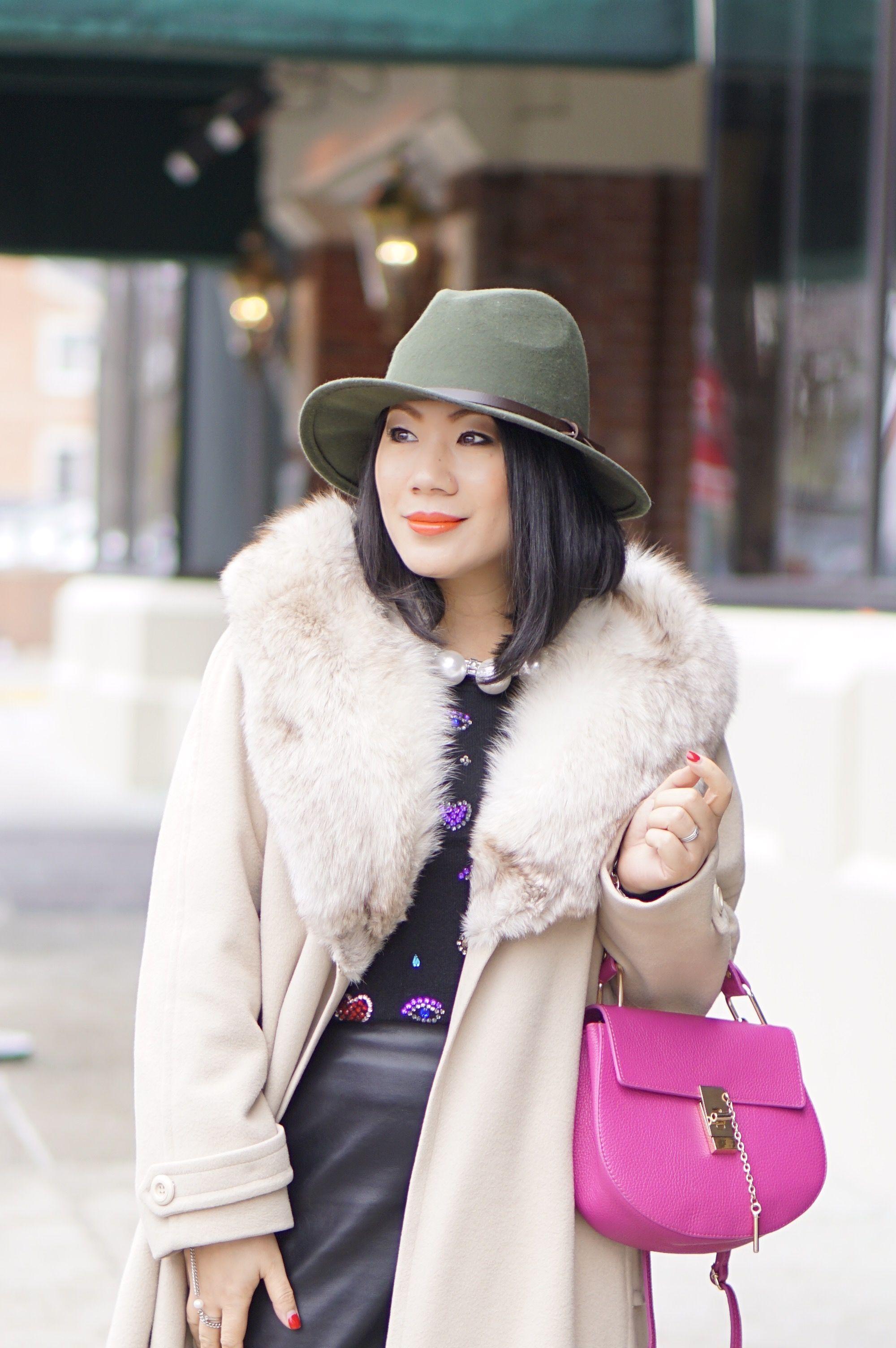 Petite fashion winter street style + cream fur coat