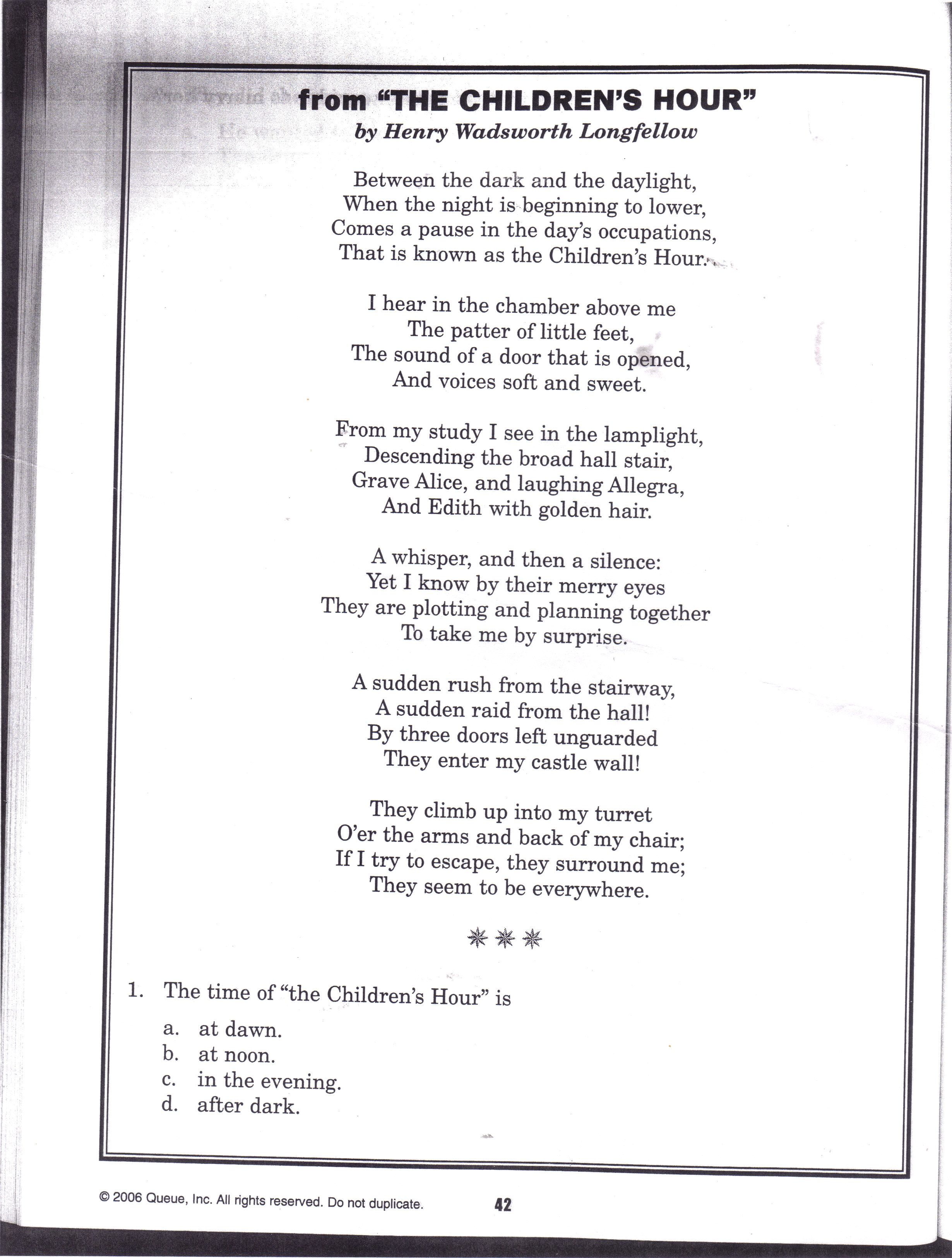 Poem The Children S Hour By Henry Wadsworth Longfellow Poetry Word Quote Poems Paraphrase Of