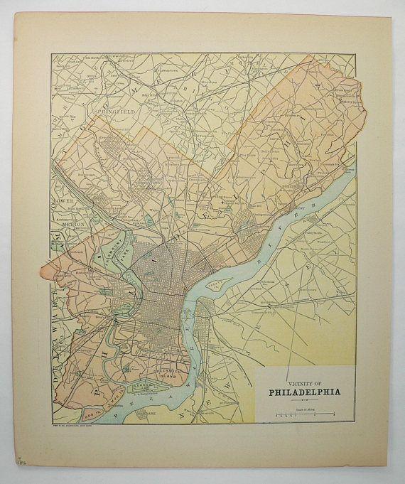 1896 philadelphia map original vintage map of philadelphia gift 1896 philadelphia map original vintage map of philadelphia gift for her us geography freerunsca Gallery