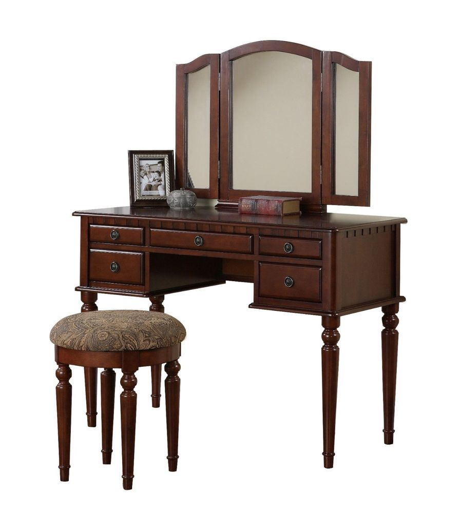 New gorgeous cherry dressing table vanity set armoiretablechair