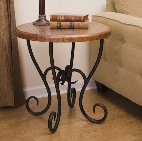forged iron and copper end table 528