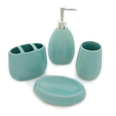 Merveilleux Waverly Aqua Ceramic 4 Piece Bath Set