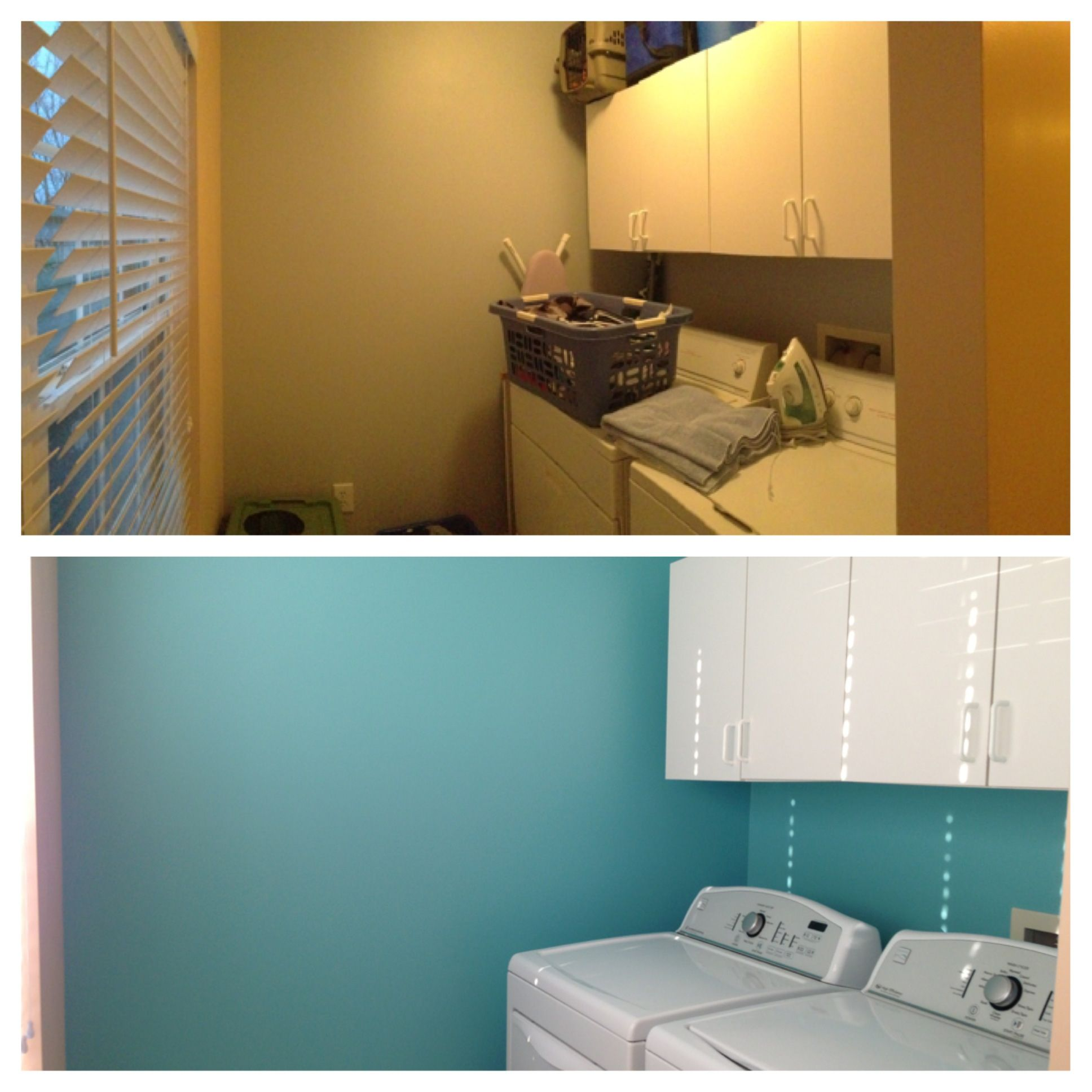 Laundry room before on top - bottom - embellished blue - sherwin ...
