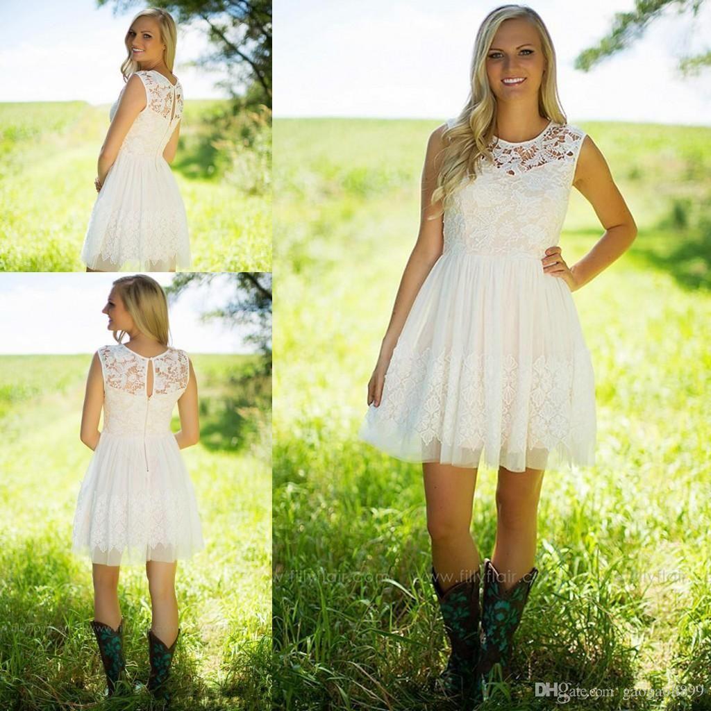 Little white dresses short lace country bridesmaid dresses grad