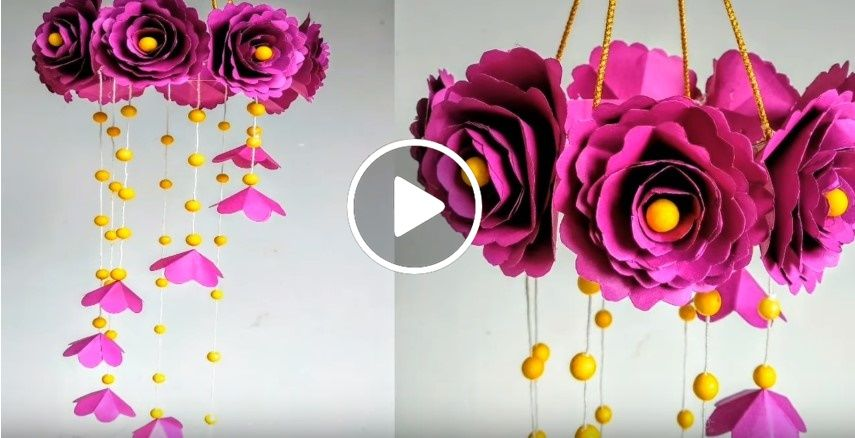 Diy Wind Chime With Beautiful Paper Roseswall Hangingpaper Craft