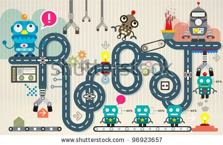 stock vector : Robot factory infographic vector illustration. factory Map and Information Graphics