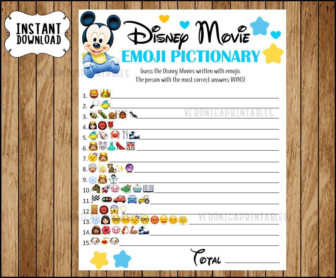 Disney Movie EMOJI Pictionary Baby Shower Game, Mickey ...