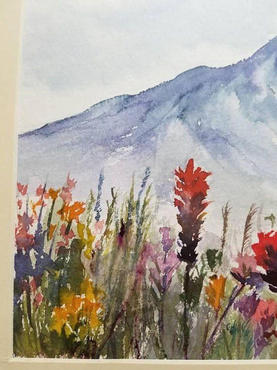 Il S Agit D Un Peinture A L Aquarelle Montagnes Vue Fleurs Champ D