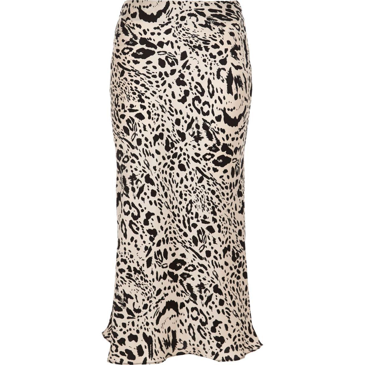 497addf093 Black leopard print satin midi skirt | 2018 wishlist | Satin midi ...