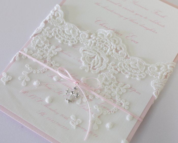 lace baptism invitations