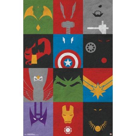 Avengers - Minimalist Grid Poster Clip Bundle Size: 22.375 inch x 34 inch, Multicolor