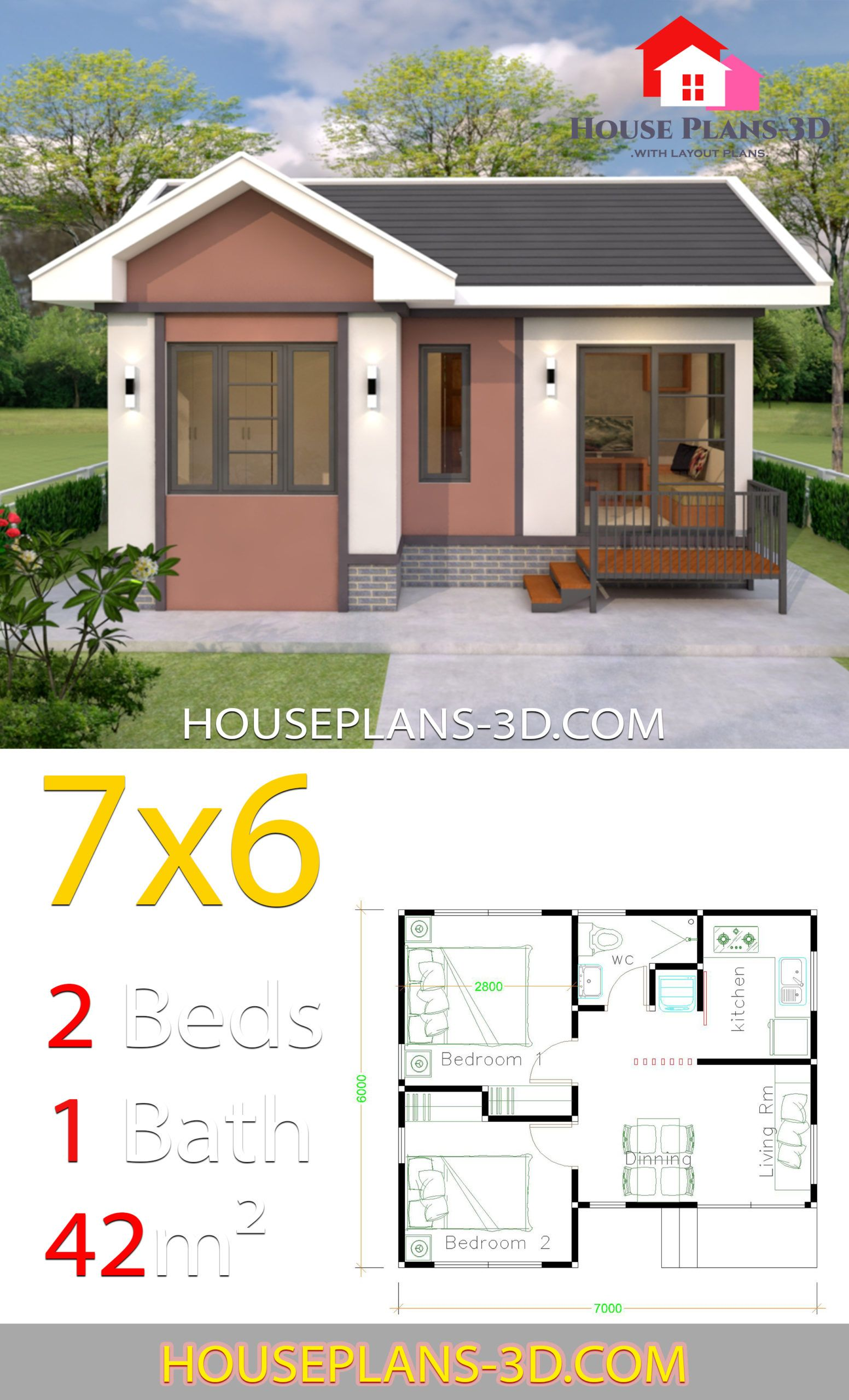 House Plans Design 7x6 With 2 Bedrooms Gable Roof House Plans 3d Flat Roof House House Plans Simple House Plans