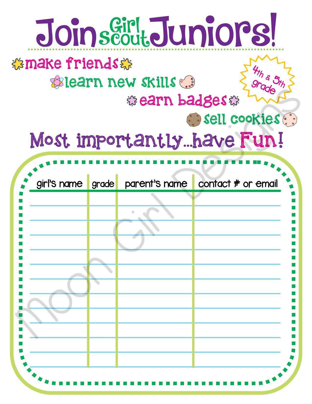 Junior Girl Scout Troop Recruitment Flyer Editable