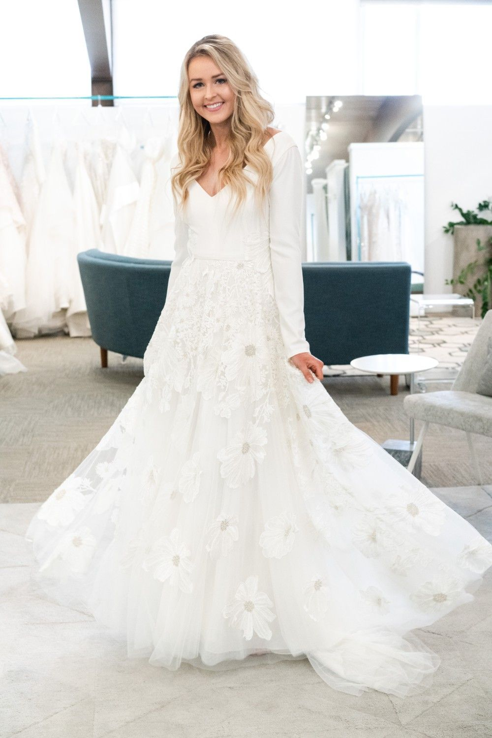 Long Sleeve Stretchy Customizable In 2020 Modest Wedding Dresses Wedding Dresses Simple Ball Gown Wedding Dress