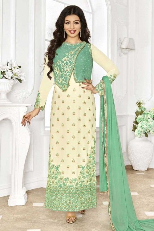 91d5cd8c61 Make the heads flip when you dress up with this cream georgette designer  straight suit The embroidered and resham work on attire personifies the  complete ...