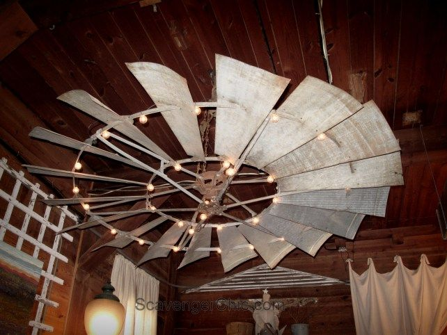 Upcycled Farmhouse Windmill Light Fixture Upcycled