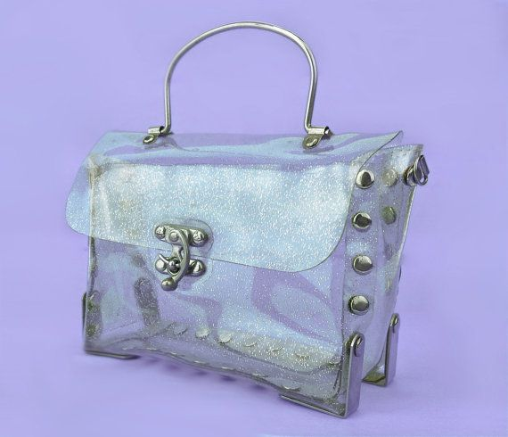 b817cb1f9c 90's Clear Glitter PVC Studded Large Box Purse by ...