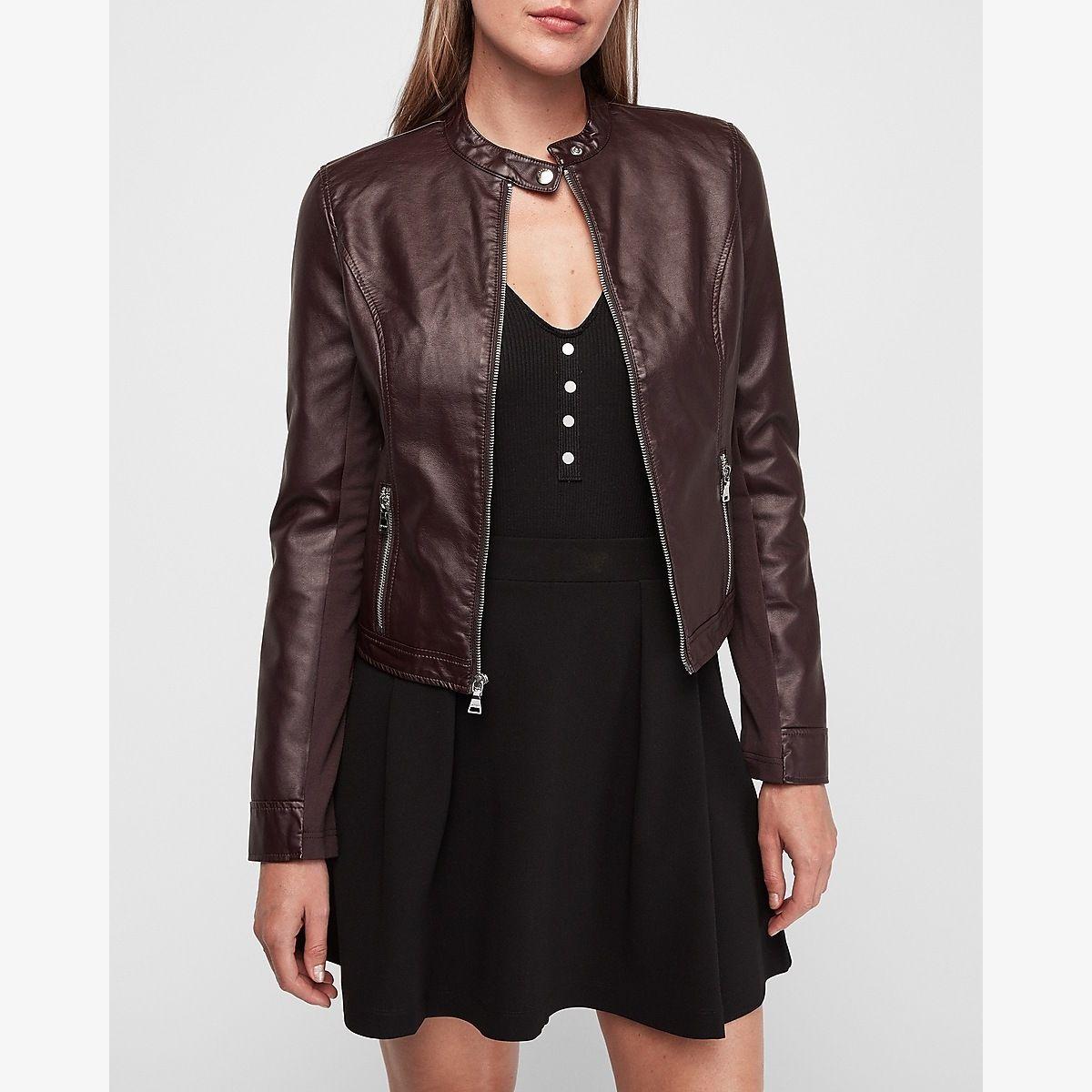 Faux Leather Jacket Purple Women's XXS Faux leather