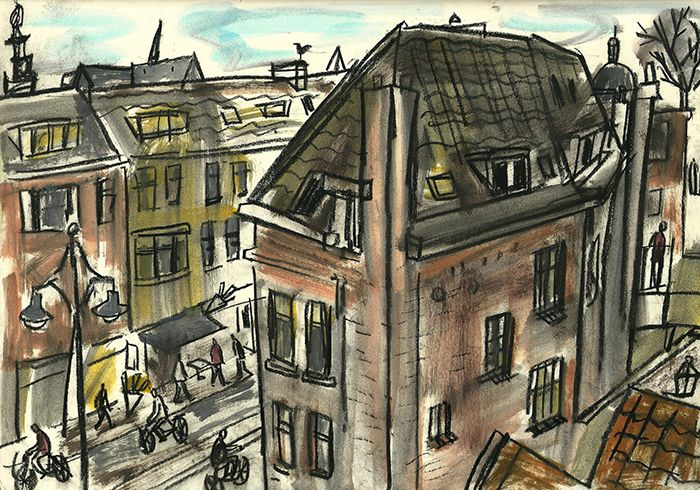 A view from the top of a carpark looking down on a street, Leiden