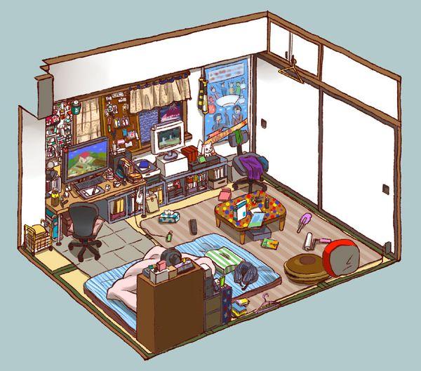 貧乏オタクの部屋をくらえ 芋りみゆき アイソメトリックアート