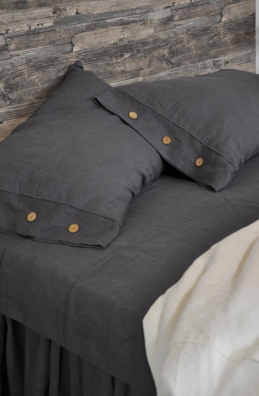 button 100 linen pillow sham