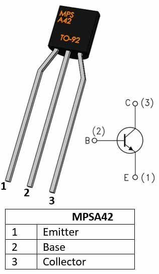 MPSA42: NPN Bipolar Small Signal Transistor Pinout