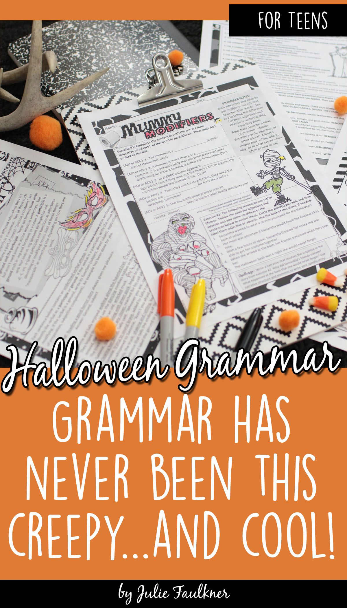 Halloween Grammar Worksheets No Prep Middle And High