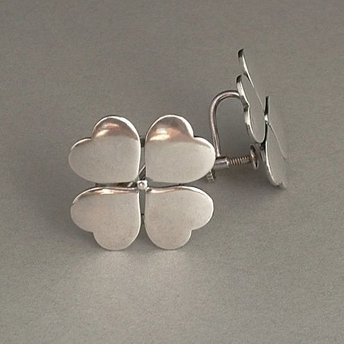 silver ed abstract modernist earrings wiener sterling pin