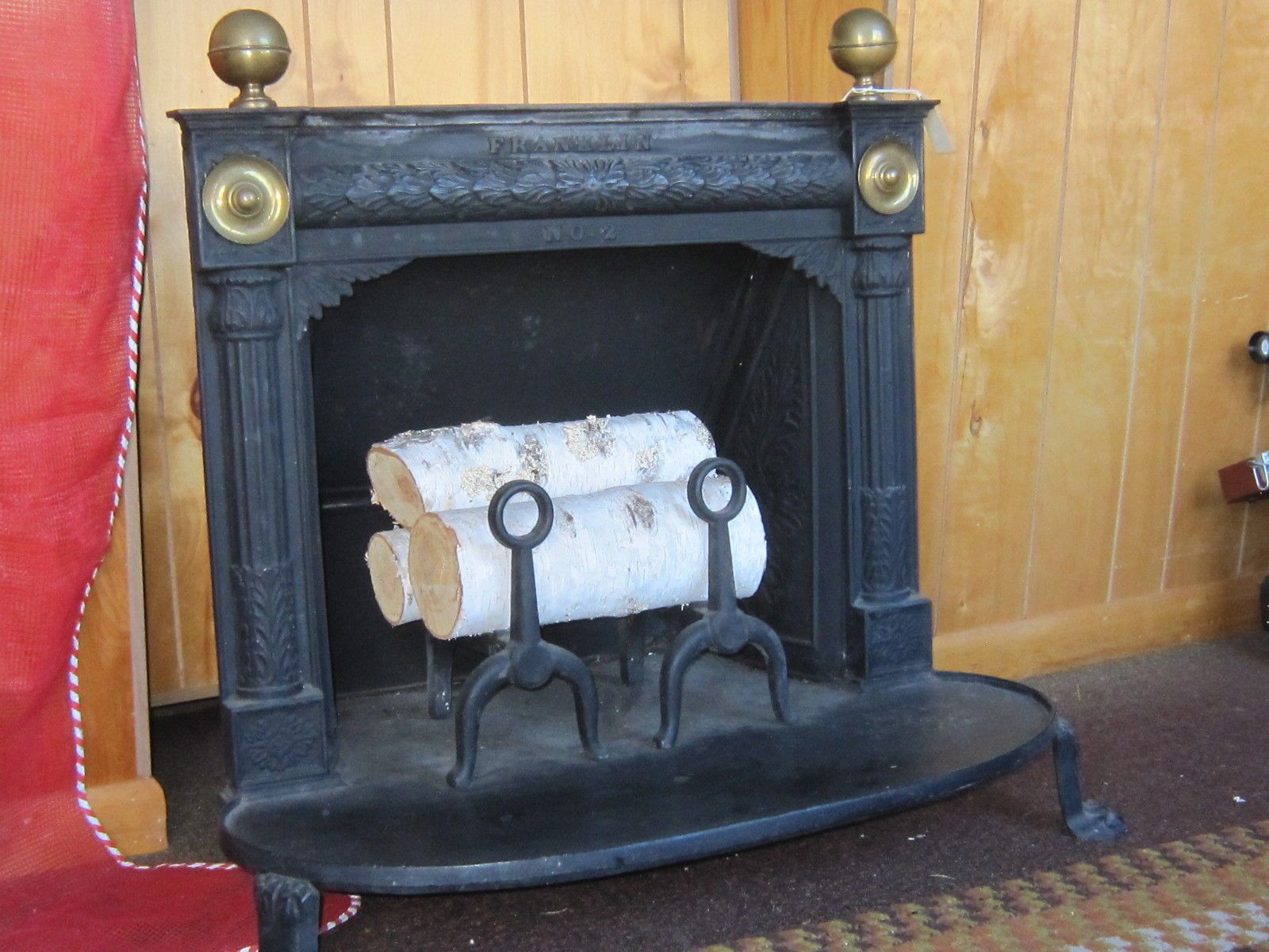 ben franklin cast iron wood burning stove heater fireplace antique