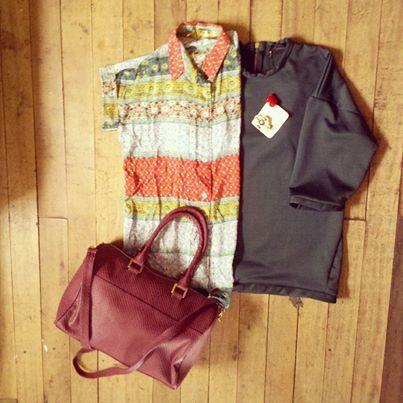 #PintasDeSabado Blusa mint de QueenB + Saco cozy de *pocacosa + Baul OH!Diosa + Prendedor de Bling! Bling Trash www.tiendaueppa.com