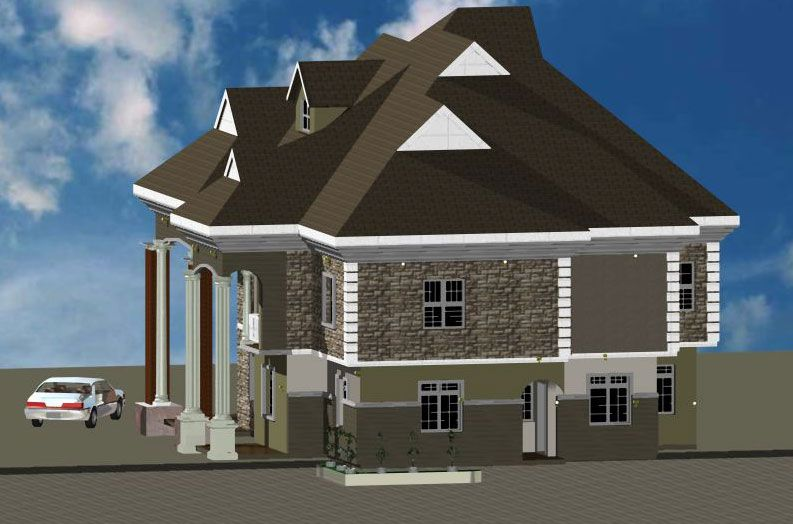 3D architectural building plan design of bungalow house-3 ...