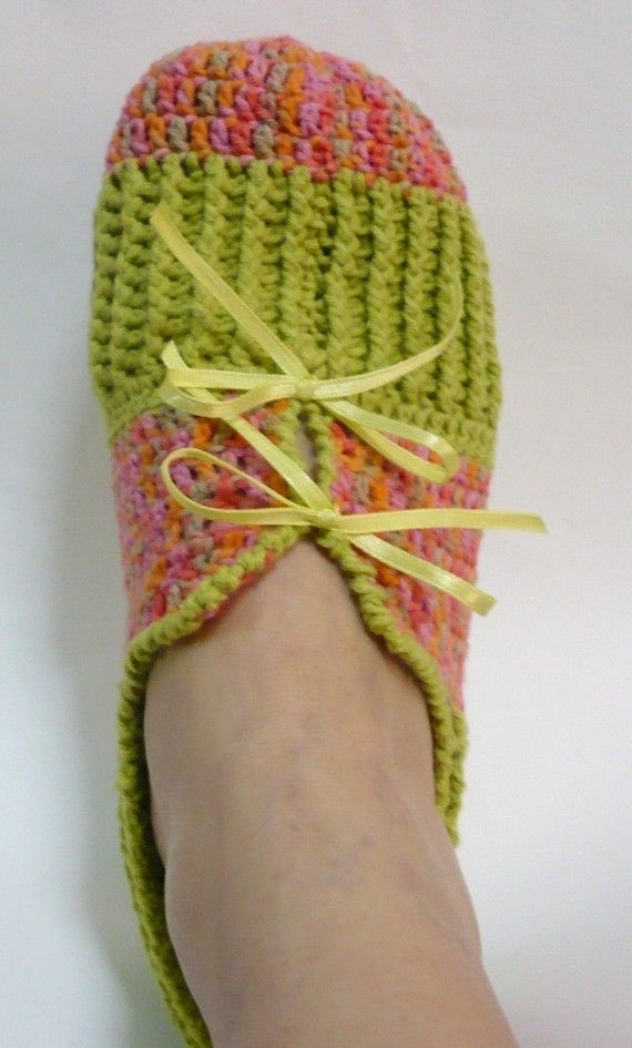 PDF Crochet Slippers Pattern - Variegated Pink with Green | Foot ...