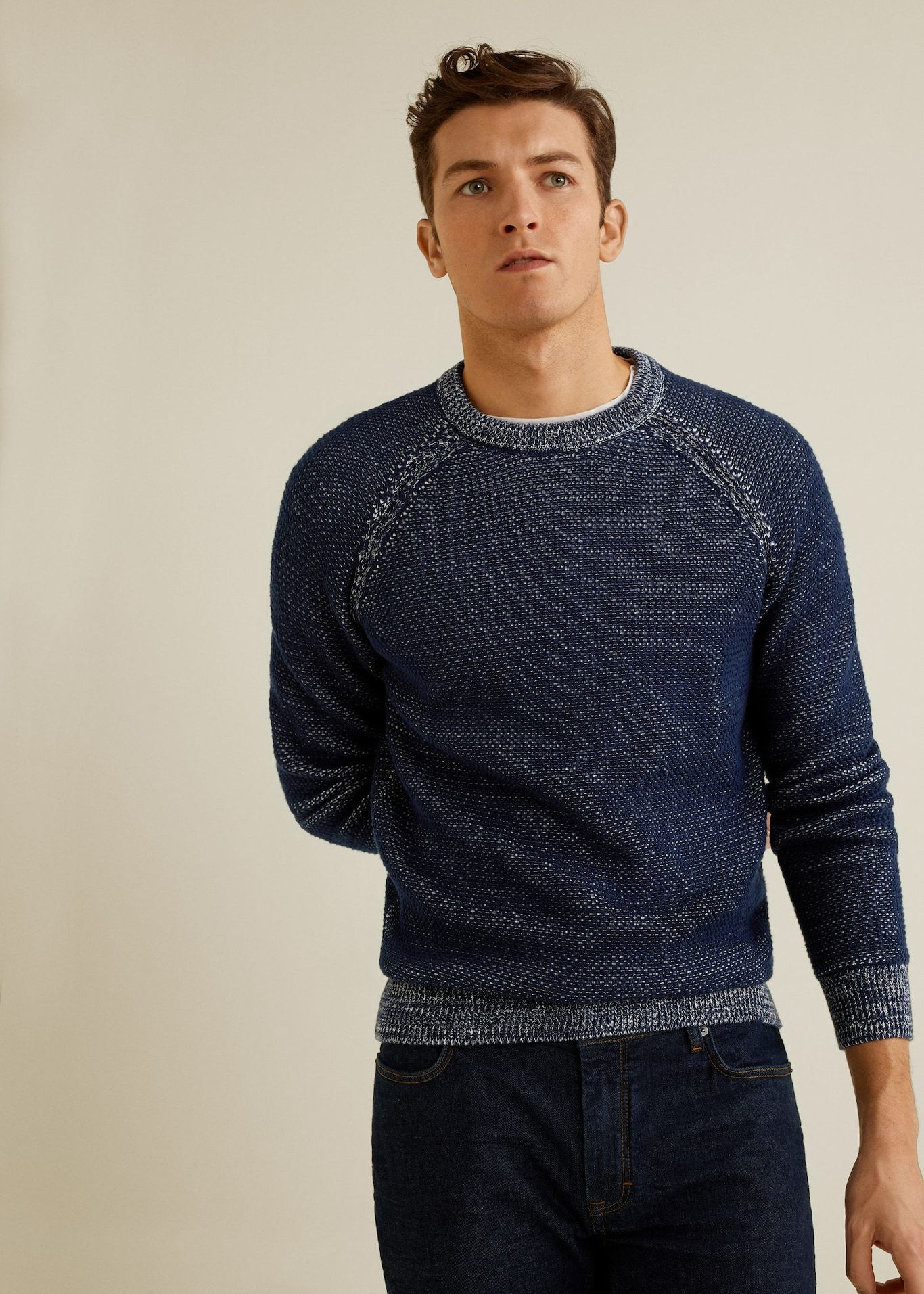 JSY Men Fashion Round Neck Knitted Contrast Colors Pullover Sweaters