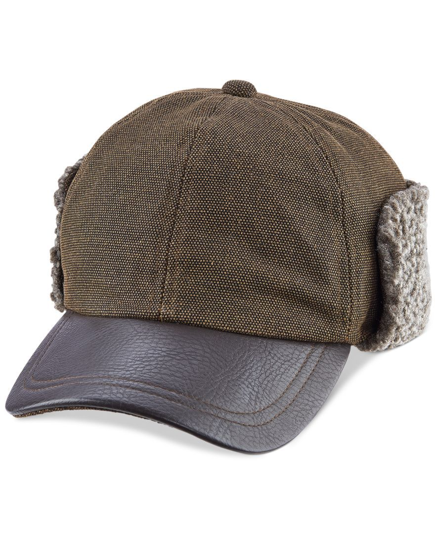 Woolrich Winter Cap with Faux-Leather Brim and Fleece Lined Earflaps