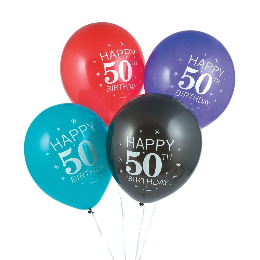 50th Birthday Celebration 12 Latex Balloons