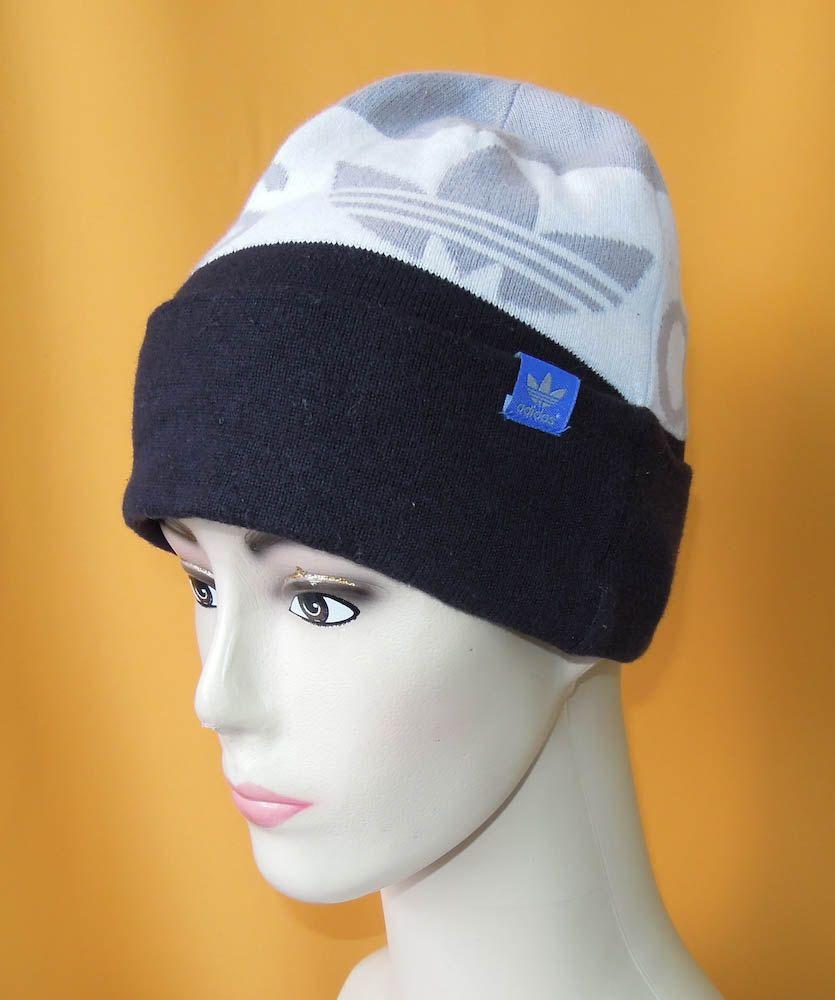 794b02001fd Adidas Beanie Ski Hat Vintage Signature Trefoil Logo Acrylic Snow Cap Black  Gray (10 05) by InPersona on Etsy