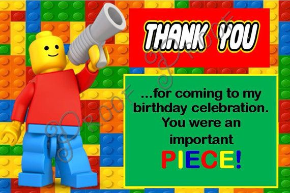 lego thank you cards, INSTANT DOWNLOAD, lego thank you card, lego
