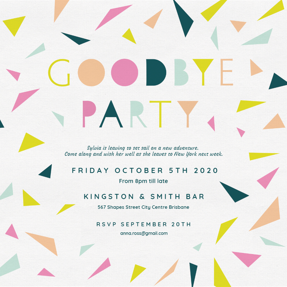 Goodbye Party Retirement Farewell Party Invitation Template Free Greetings Island Party Invite Template Goodbye Party Event Invitation Templates