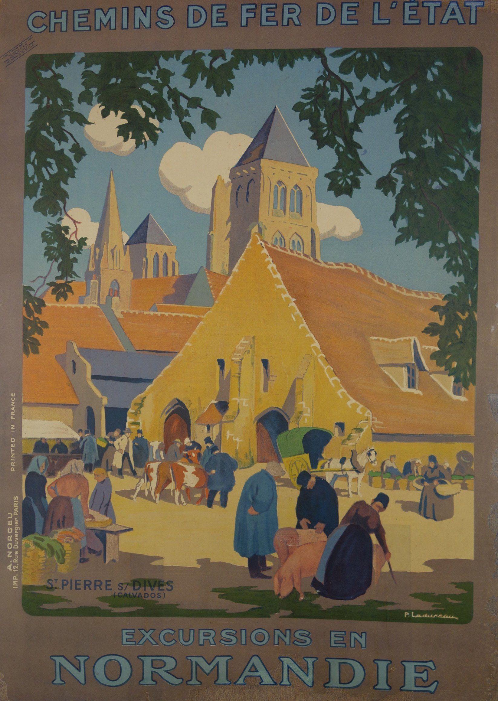 Chemins De Fer De L Etat Excursions En Normandie Vintage Travel Posters Vintage Posters Travel Posters
