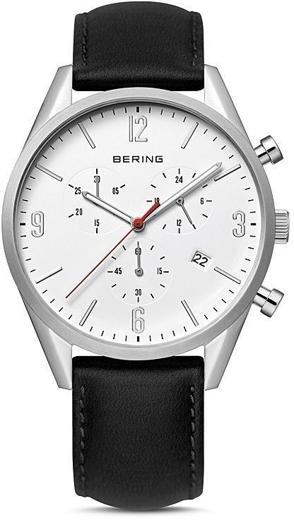 Bering Classic Chronograph Leather Strap Watch, 42mm