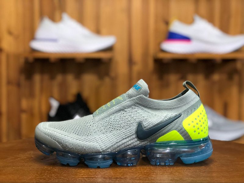 688b82ef20f2c 2018 Nike Air Vapormax Flyknit MOC 2.0 Mens Athletic Shoes Gray Green Navy  Blue AH7006-300