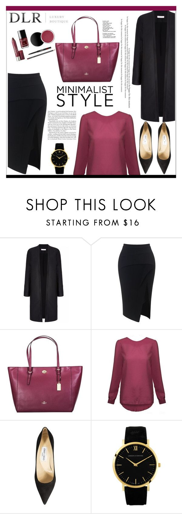 """""""DLR - LUXURY BOUTIQUE"""" by isatusia ❤ liked on Polyvore featuring Maticevski, Coach, Jimmy Choo, Larsson & Jennings and dlr"""