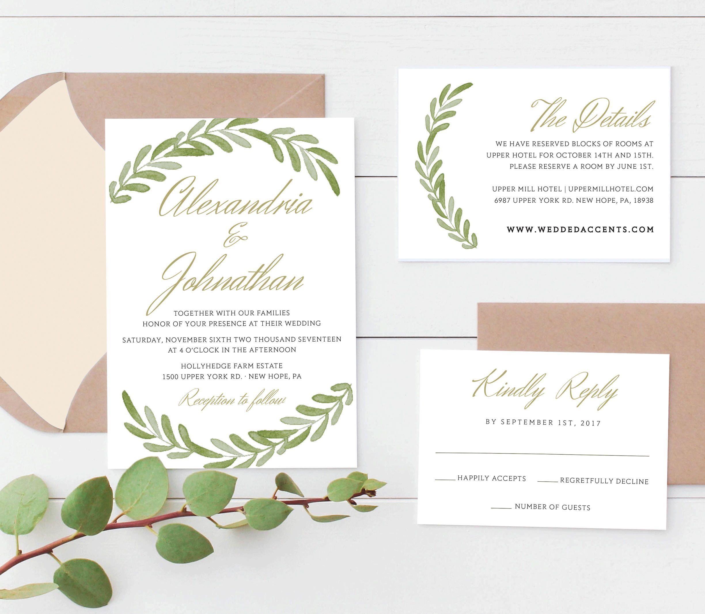 Rustic Wedding Invitation Template, Greenery Wedding Invitation ...