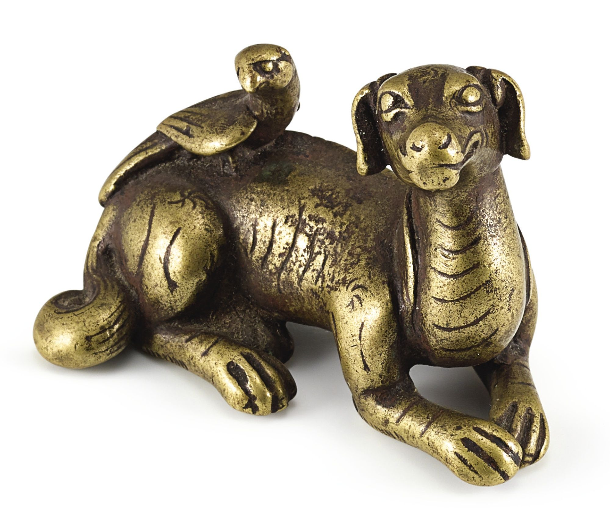 A small bronze dog paperweight china 17th century