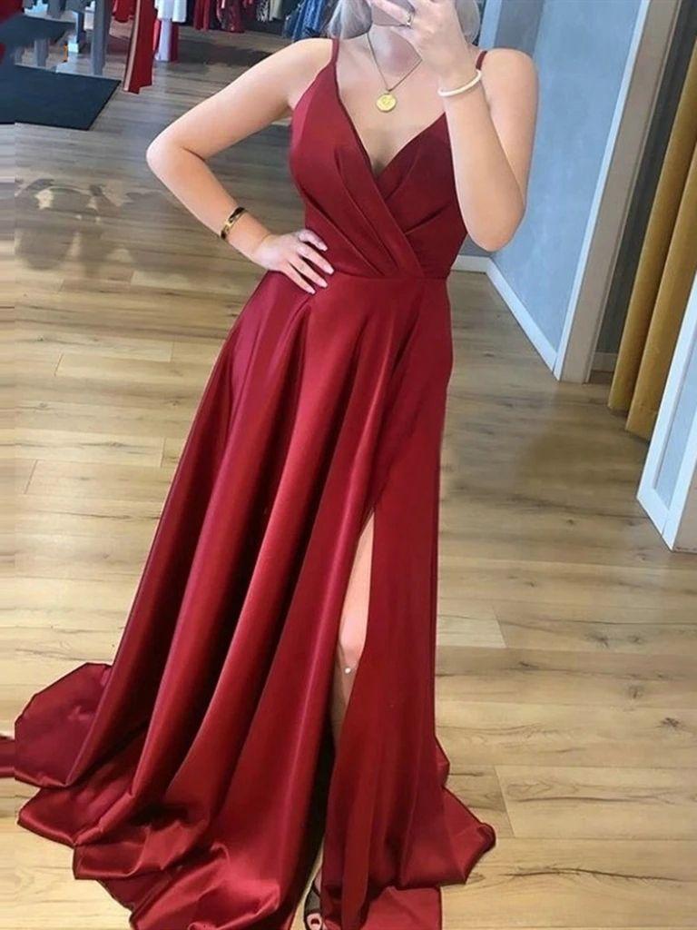 A Line V Neck Burgundy Satin Long Prom Dresses Wine Red Satin Formal Evening Dresses Burgundy Prom Dress Formal Evening Dresses Women S Evening Dresses [ 1024 x 768 Pixel ]