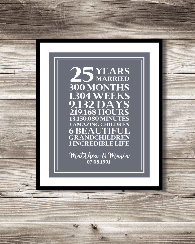 25 Year Anniversary Digital print, gift 25th Anniversary