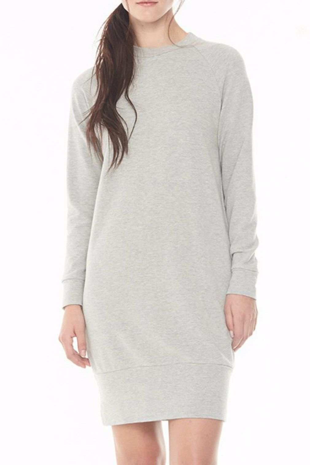 c4a01723e French Terry Crew Neck Sweatshirt Dress in Heather Grey | Products ...